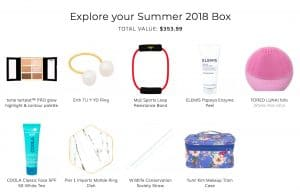 Contents of Summer 2018 FabFitFun Box